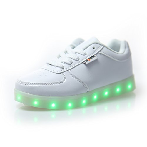 DoGeek-Zapatos-Led-Nios-Nias-7-Color-USB-Carga-Deportivas-De-Luces-ZapatillasMejor-Pedir-una-Talla-ms-35-EU-Blanco