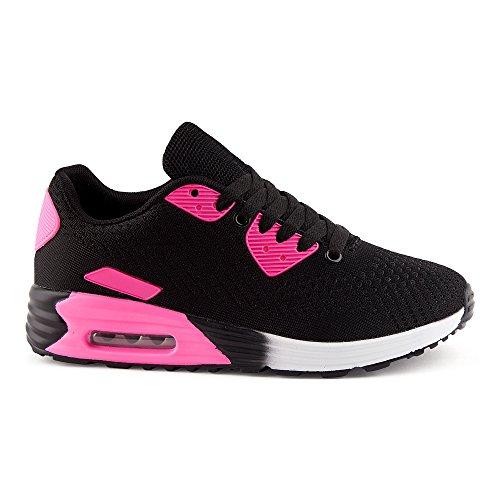 Fivesix Uomo Donna Sneaker Scarpe Sportive Scarpe Da Corsa Scarpe Casual Ammortizzazione Scarpe Stringate In Maglia Scarpe Basse Unisex Nero / Fucsia-w