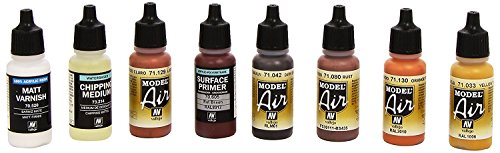 Cheapest 3XVallejo Model Air Rust and Chipping Effects Acrylic Paint Set for Air Brush – Assorted Colours (Pack of 8) on Line