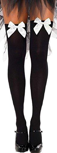 Leg Avenue Damen halterlose Strümpfe schwarz mit weißen Schleifen Einheitsgröße ca. 38 bis 40 -