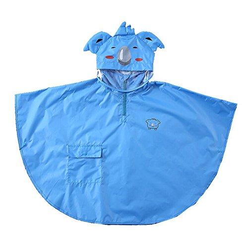 Gagacity i bambini baby kids impermeabile poncho antivento cape leggero e traspirante con 3d cartoon animal pattern blue koala/l
