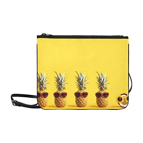 n kokosnussgelbes Fruchtmuster Benutzerdefinierte hochwertige Nylon Slim Clutch Bag Cross-Body Bag Umhängetasche ()