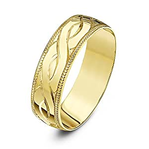 Theia Unisex Heavy Weight D Shape Celtic Design 6 mm 9 ct Yellow Gold Wedding Ring - Size I