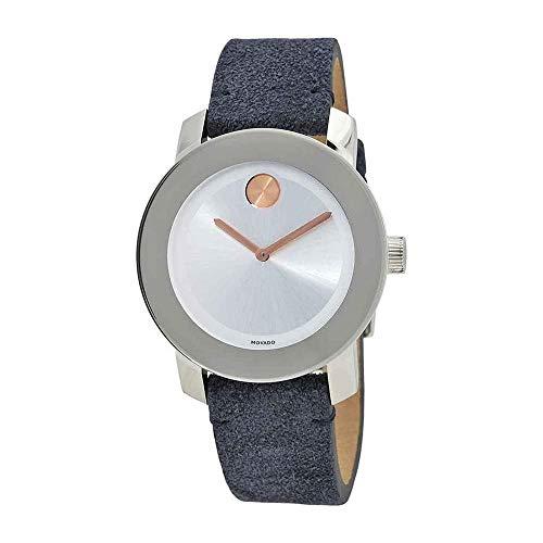 Movado Women's Bold 36mm Blue Suede Band Steel Case Quartz Watch 3600446
