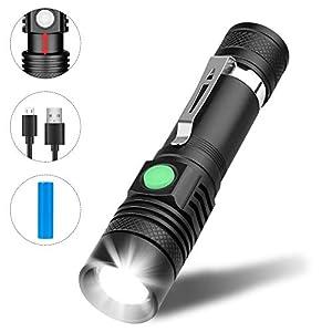 Winzwon LED Taschenlampe, USB Wiederaufladbare Taschenlampen, LED Taschenlampe Extrem Hell, Wasserdicht Flashlight mit 4…
