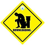 Downloading Car Sign, Downloading, Car Sign, Bumper Sticker, Baby On Board, Funny Car Sign, Decal, Bumper Sticker, Joke Car Sign, Internet Sign, Rude Sign, Toilet Humour