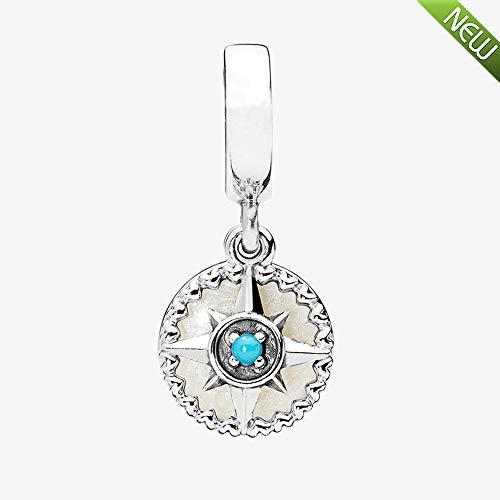PANDOCCI 2018 Neue Sommer Kompass Rose Dangle 925 Silber Emaille & Cyan Blue Crystal DIY passt für Original Pandora Armbänder Charm Modeschmuck
