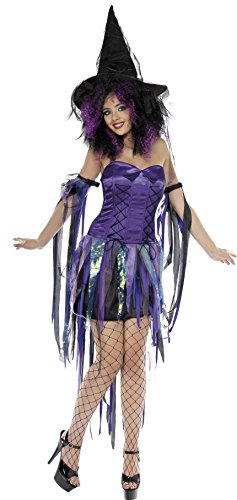 Smiffys Damen Kostüm Hexe Frech Fee Hexe Kleid Armmanschetten Größe: L Farbe: Lila 32937 (Freche Fee Kostüm)