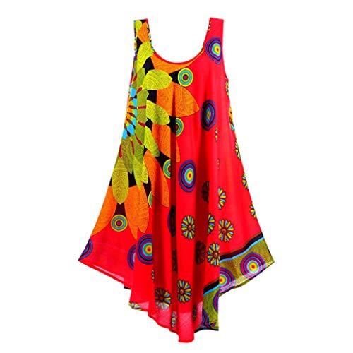 AIni Damen Sommerkleid Mode Lässig Rundhals Kleid Elegant ärmelloses Minikleid Blumendruck Festlich Partykleid