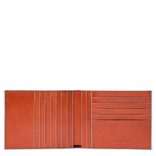 Piquadro blue square portamonete con 12 alloggiamenti per carte di credito, 12 cm, 0.43 litri, arancio