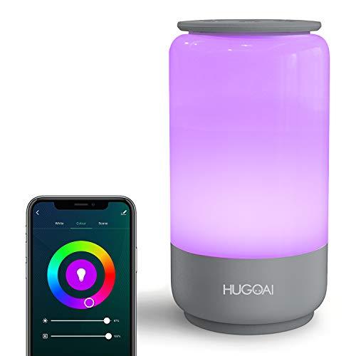 Smart LED Nachttischlampe, HUGOAI dimmbare Tischlampe, Nachtlicht für Schlafzimmer,mit Farbtemperatur & RGB Farbwechsel und Wi-Fi Verbindung, kompatibel mit Alexa/Google Assistant und IFTTT-Grau