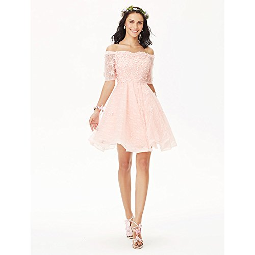 kekafu Princess Off-the-shoulder kurz / Mini Kleid mit Spitze Brautjungfer Crystal Details Blume von Yaying, Pearl Pink, US4/UK 8 / EU 34 (Tom 8 Pearl)