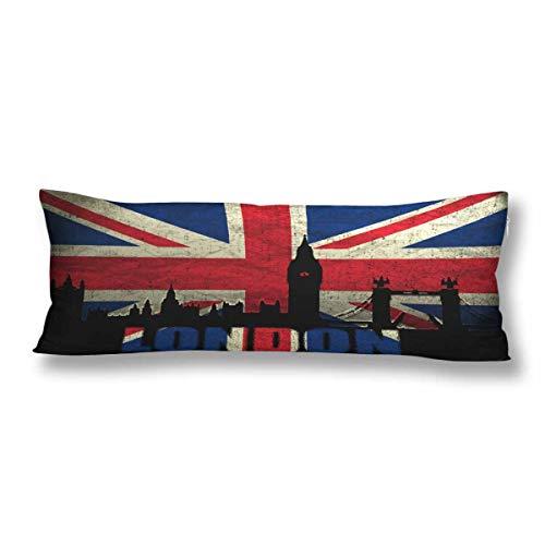 CiCiDi Seitenschläferkissen 5ft (140 x 40 cm) Retro Union Jack London Britische Flagge Big Ben Weiche Baumwolle Maschinenwäsche mit Reißverschlüssen Mutterschafts- / Lange Kissenbezug -