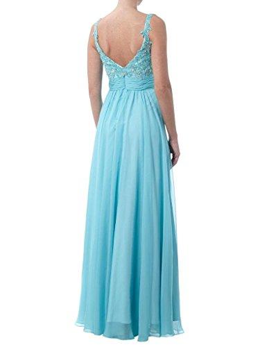 Charmant Damen Herrlich Blau Rosa Zwei-traeger Chiffon Abendkleider Abschlussball Tanzenkleider Lang Blau