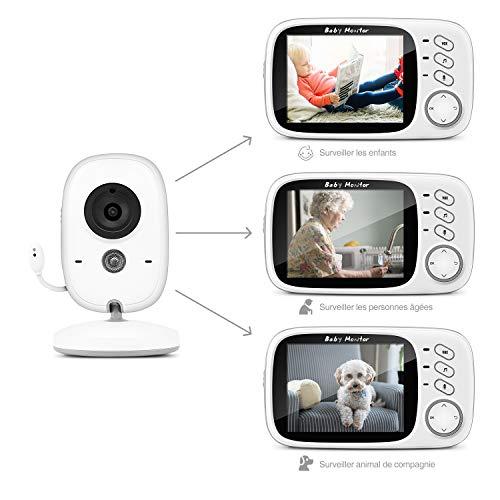 """Moniteur Bébé, BOIFUN Babyphone Vidéo Caméra Surveillance Numérique Sans Fil avec 3.2""""LCD, VOX, Vision Nocturne, Communication Bidirectionnelle, Capteur de Température, Berceuses, Rechargeable"""