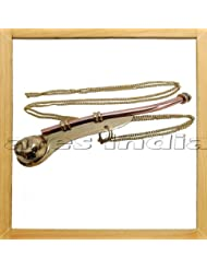 Ares India 5 Brass Copper Boatswain Whistle With Chain Bosun Call Pipe Maritime Nautical by Ares India