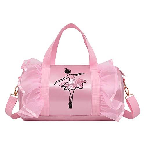 Xingsiyue Mädchen Balletttasche - Tanz Duffle Bag Packable Ballerina Umhängetasche Rosa Carry Holdall Kinder Rucksack Sparkle Stickerei für Ballettschuhe Kleid Ballerina Duffle Bag