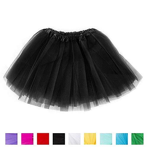 Ruiuzi Tutu-Rock für Kinder, Mädchen, klassisch, 4-lagig, Tüll, Tutu, Rock für Partys, Halloween, Partys, Kostüme, Schwarz, Kids (2-8 ()
