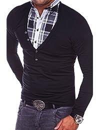 MT Styles 2in1 Longsleeve mit Hemd-Einsatz T-Shirt CR-3011