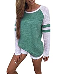 Hiroo Mujeres Niñas Blusa de empalme de manga larga Camisa Super Confort Camiseta de la raya de la impresión raya Elegantes tops de trabajo Sudaderas con capucha de túnica ligera (verde, XL)