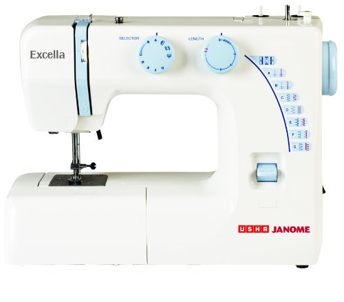 Usha Janome Excella Automatic 75-watt Zig-zag Sewing Machine (white/blue)