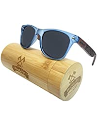 WoodofArt Wood Polarized Sunglasses For Women And Men Wayfarer Shades With Wooden Case (Transparent Blue