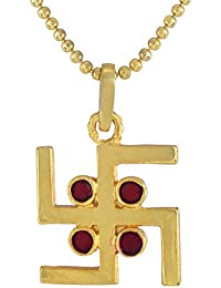 Swastik Gold Plated Pendant With Chain For Men And Womens