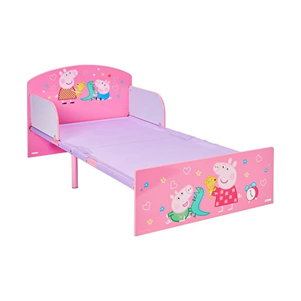 Peppa Pig Kids Toddler Bed by HelloHome Peppa Pig. Snuggle in after a day of play in this Peppa Pig Toddler Bed Perfect size for toddlers, low to the ground with protective and sturdy side guards to keep your little one safe and snug Fits a standard cot bed mattress size 140cm x 70cm, mattress not included. Part of the Peppa Pig bedroom furniture range from HelloHome 19
