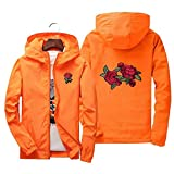 Herren/Damen Strickjacke Kapuzenjacke Frauen und Männer Herbst Langarm mit Kapuze Sweatshirt Rosen Druck Rosen Pullover Sonnencreme (3XL, Orange)