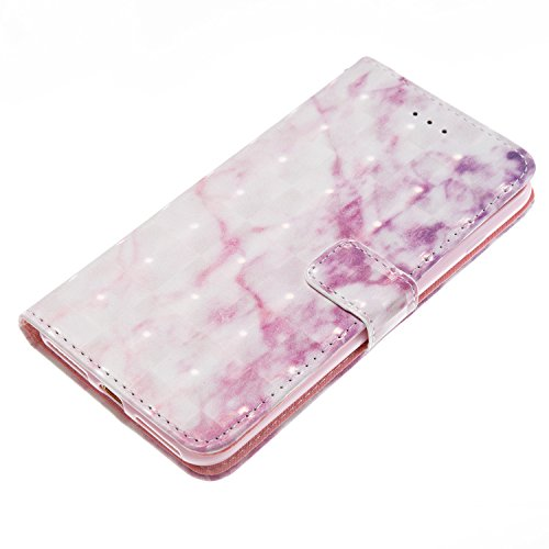 iPhone 7 Plus Hülle,iPhone 7 Plus Schutzhülle, iPhone 7 Plus Marmor Handyhülle,iPhone 7 Plus Leder Wallet Tasche Brieftasche Schutzhülle,Cozy Hut® Schwarz Design Marmor Muster PU Lederhülle Flip Hülle rosa Marmor