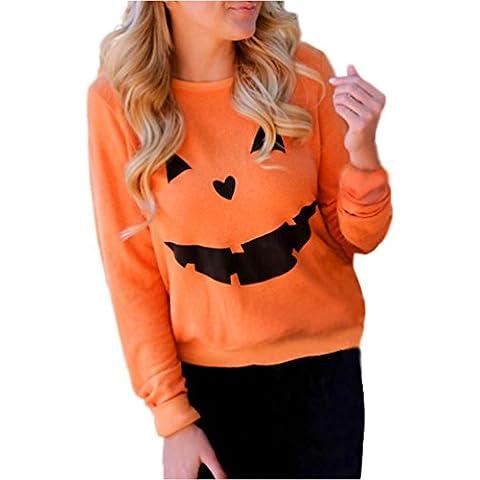 Amlaiworld Donna Halloween zucca stampa manica lunga Felpa Pullover top
