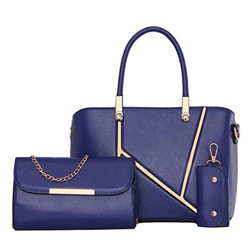 DianShao Frauen Geldbörsen Handtaschen Damen Crossbody Tasche Messenger Bag Tasche 3 Sets Schwarz Blau