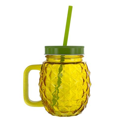 NOKI Tee Ananas Glas und Stroh, Multi, 10x 13x 19cm 10 X Stroh