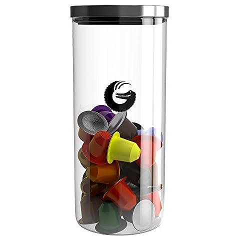 Coffee Gator Aufbewahrungsbehälter | Glas mit Nockendeckel | Visuelles Display | 1.3l / 35 Nespresso Kaffeepadbehälter, Bohnen, Gemahlener Kaffee und Tee