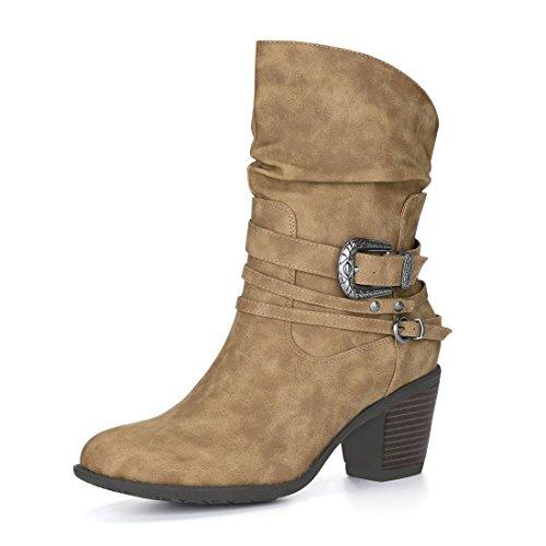 Allegra K Damen Runde Zehe Schnalle Gurt Blockabsatz Slouchy Stiefel, Braun/EU 38.5 (Gurt Schnalle Stiefel)