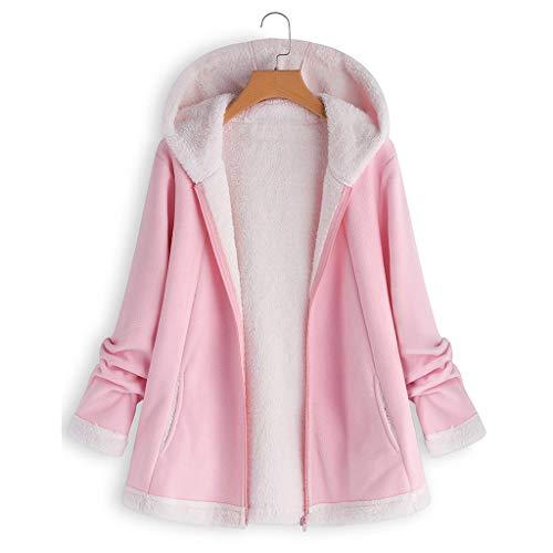 WWricotta Women's Fashion Winter Pocket Zipper Long Sleeve Plush Hoodie Coat(Rosa,5XL)