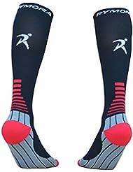 Calcetines de compresión (acolchada, compresión graduada, unisex para hombres y mujeres) by rymora Deportes, color Black (One Pair), tamaño medium