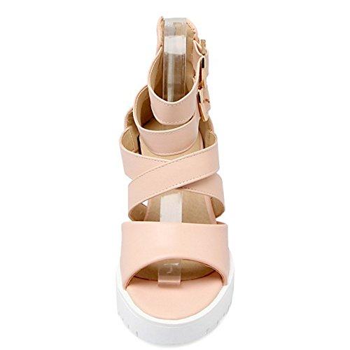 RizaBina Femmes Mode Augmentation Plateforme Peep Toe Sangle De Cheville Sandales De Fermeture Eclair Rose