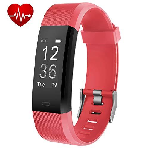 Muzili Fitness Armband mit Pulsmesser Wasserdicht IP67, Fitness Tracker Sport Uhr Aktivitätstracker Schrittzähler mit Herzfrequenz Monitor/Schlafmonitor/Kamerasteuerung für Andriod und IOS(Red)