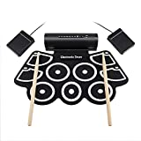 HUIJIN1 Elektronisches Drumset, Portable MD760 Roll up Electronic MIDI Drum Set Kits 9 Pads Built-in Speakers Foot Pedals Drumsticks USB-Kabel für die Praxis