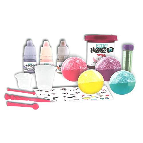 Experimentierkasten Lipgloss herstellen für Kinder Lippenstift Lippenbalsam mit Glitzer Kinder Schminke Kosmetik selber machen Lip Gloss Glitter Bastelset Spa Beauty Spielzeug Kreativ Set ab 8 Jahren -