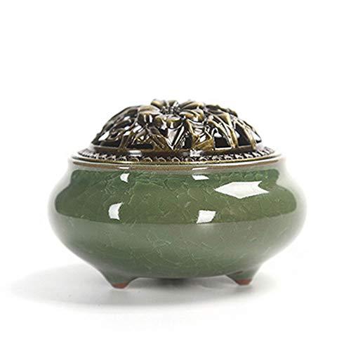 Haihuic Keramik Räuchergefäß - Chinesisches Porzellan Räuchergefäß - Cone/Stick/Coil Weihrauch Ash Catcher Bowl, Eisbruch - Smaragdfarbe - Ash Catcher