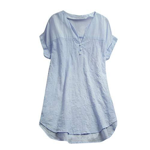 TOPKEAL Oberteil Leinen Solide Button Long Splice Lace V-Ausschnitt T-Shirt Damen Sommer Elegante Damen Bluse Tunika Frühling Causal Tops Mode 2019