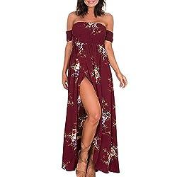 Ladies Bandeau Print Kleid Beach Large Size Bohemian Off-Shoulder-Kleid Langes Kleid mit geteiltem Saum Sonojie