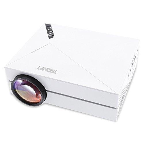 Mini Tragbarer Beamer Projektor Tronfy® Micro Video Projektor fuer Heimkino Videospiele Film Gaming mit 800*480 Auflösung Kontrast:1000:1 Unterstuetzung HDMI USB AV SD VGA Zugänge