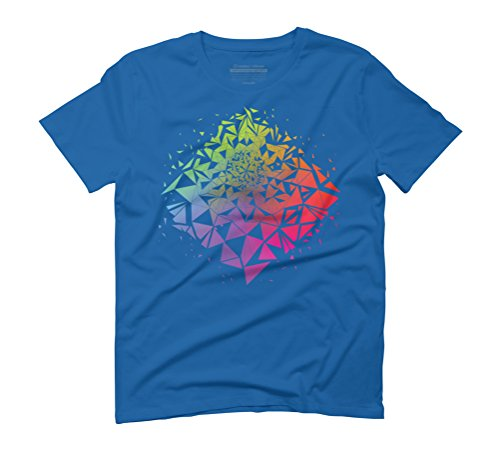 Geometric Rainbow Men's Graphic T-Shirt - Design By Humans Royal Blue