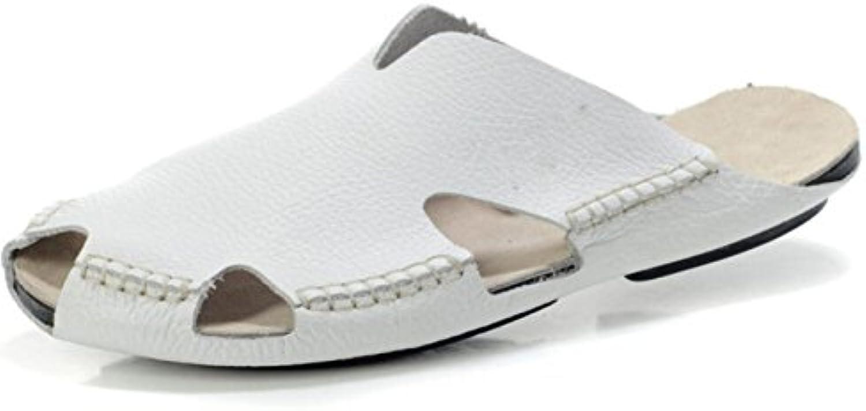 DHFUD Zapatillas De Verano Medias De Cuero Zapatillas Baotou Hombres Perezosos Zapatos Transpirables
