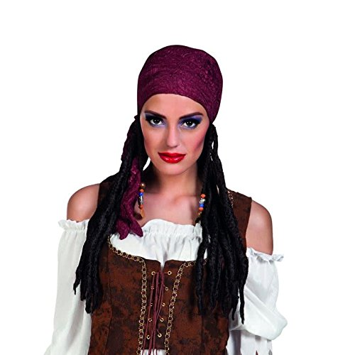 Ladies Wig and Bandana Fancy Dress Womens Adults Pirate Costume Accessory New (Pirate Fancy Dress Womens)
