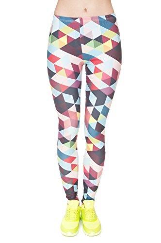Femmes Mesdames Leggings Longueur complet extensible Collants Pantalon pour ne pas voir à travers Fitness Yoga Running Hipster UK 81012 Multicolore - COLOUR TRIANGLES