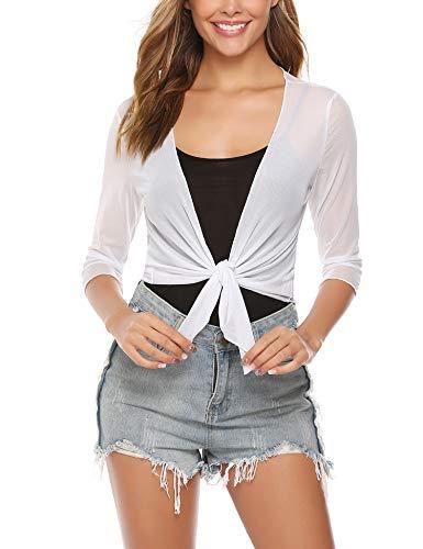 Abollria Damen Bolero 3/4 Arm Leicht Sommer Cardigan Elegante Dünne Jacke zum Knoten,Weiß,S -